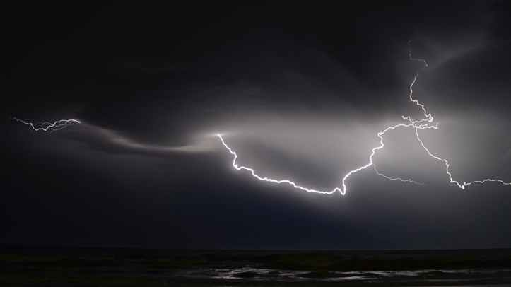 lightning in sky at night